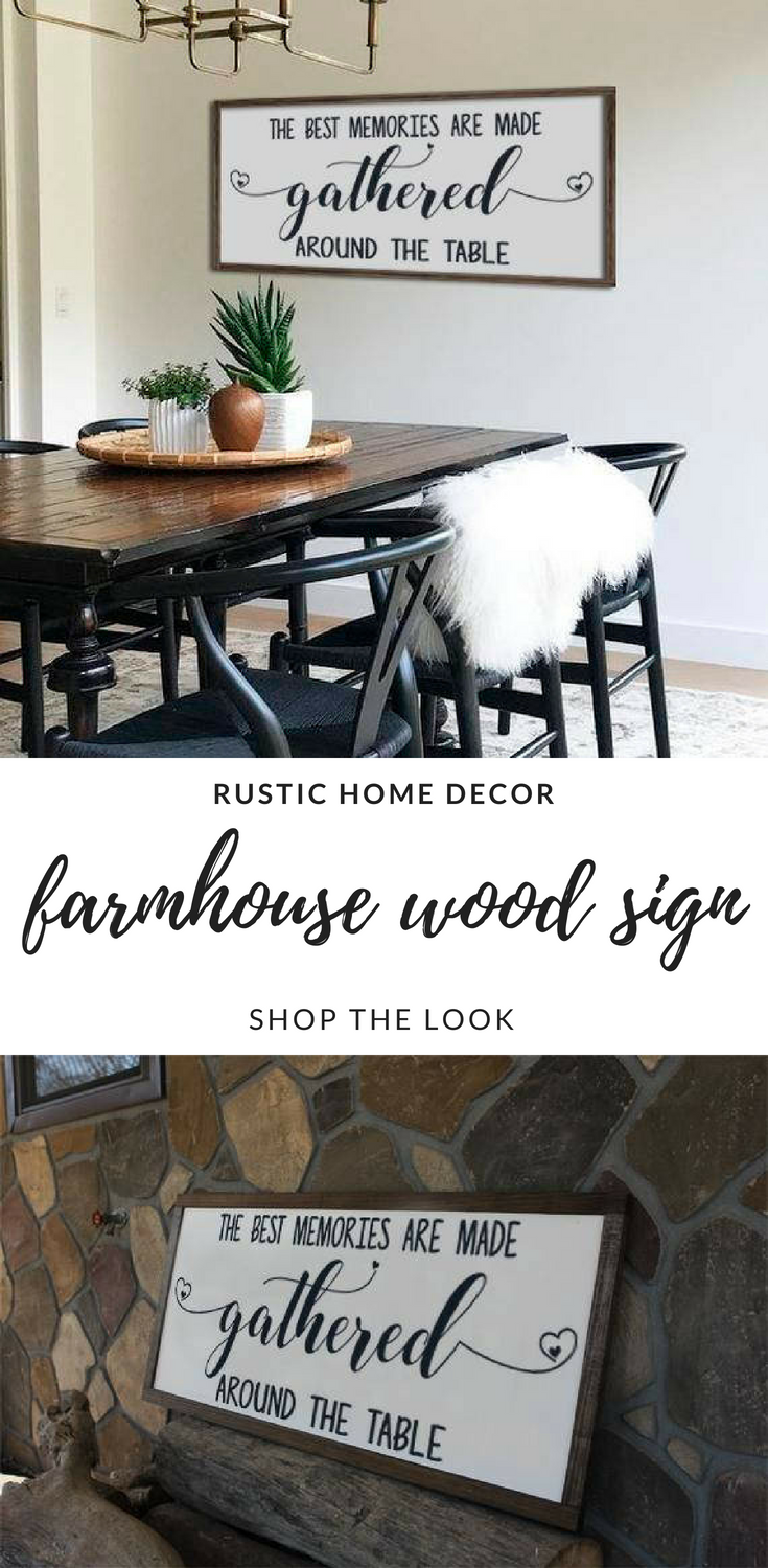 Rustic cottage style the best memories are made gathered around the table sign//kitchen dining room decor//shabby decor