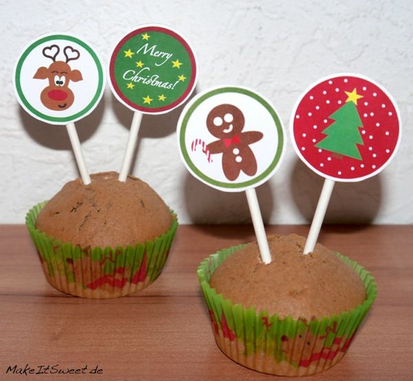 weihnachtliche cupcake toppers christmas printable free