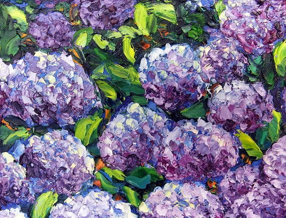 Jardin De Hortensias Flores Pintura Al Oleo Por Nuupaletteknife Oil Painting Flowers Purple Flowers Garden Garden Painting