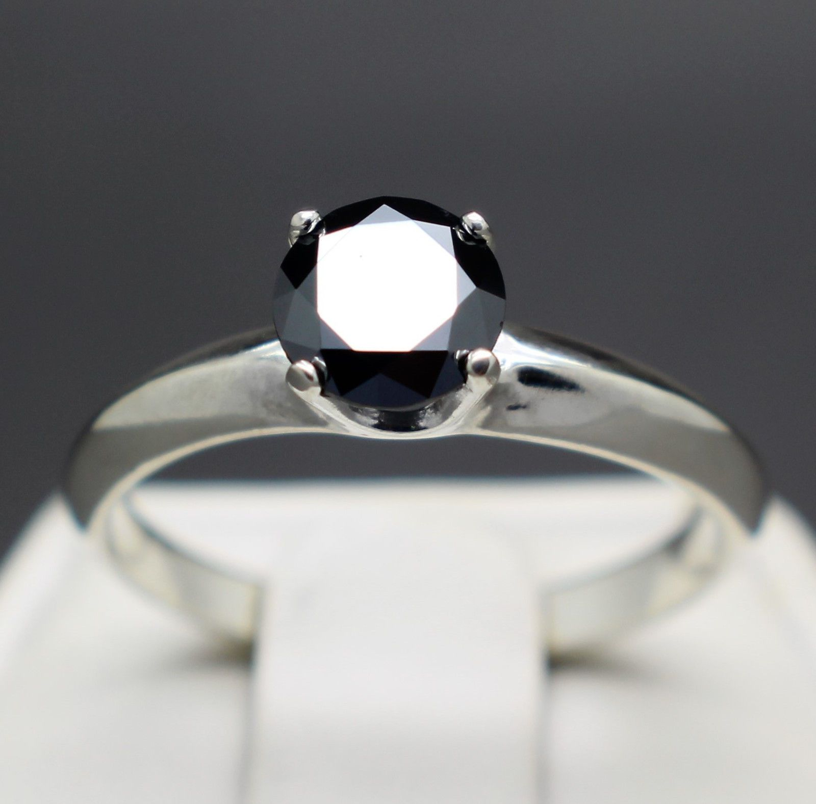 jewelry 1 22cts 6 79mm Natural Black Diamond Ring Certified AAA