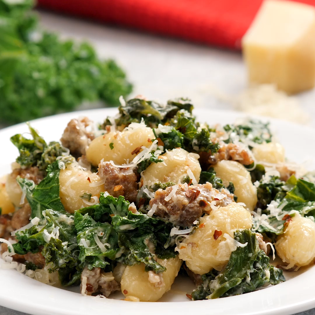 One Pan Gnocchi Sausage and Kale images
