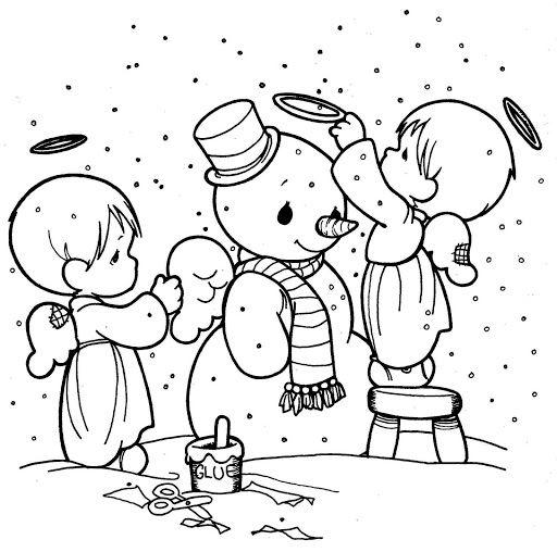 Angelitos en invierno para colorear | Dibujos bordados | Pinterest ...