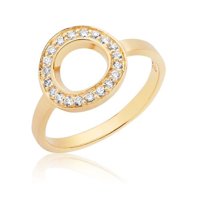 Ring med cirkel og zirkonia - forgyldt sølv