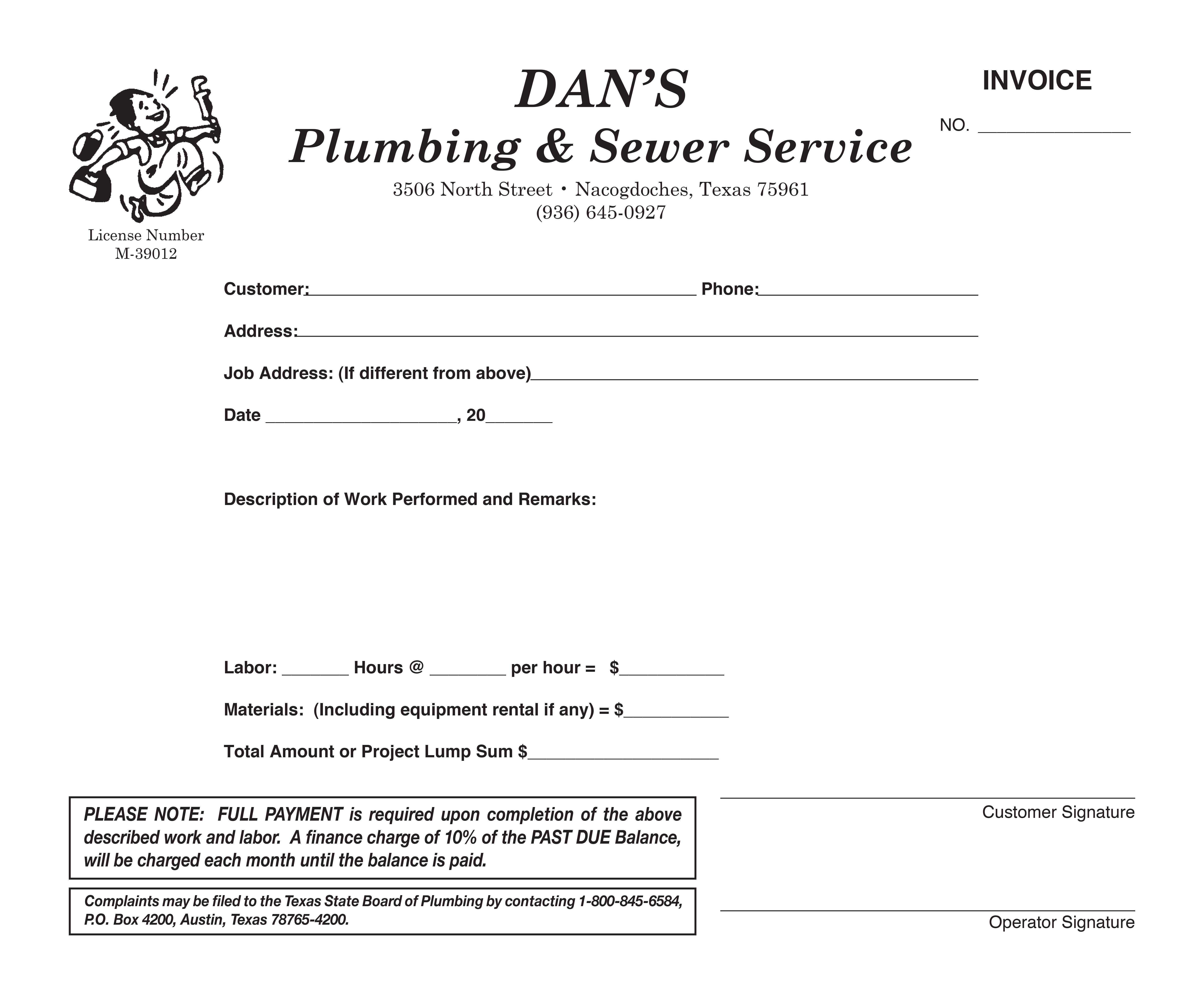 Plumbing And Sewer Service Invoice Printing Services Invoicing Service