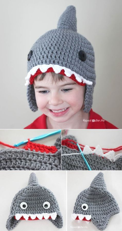 Shark Crochet Pattern All The Best Ideas | Gorros, Tejido y Gorros ...