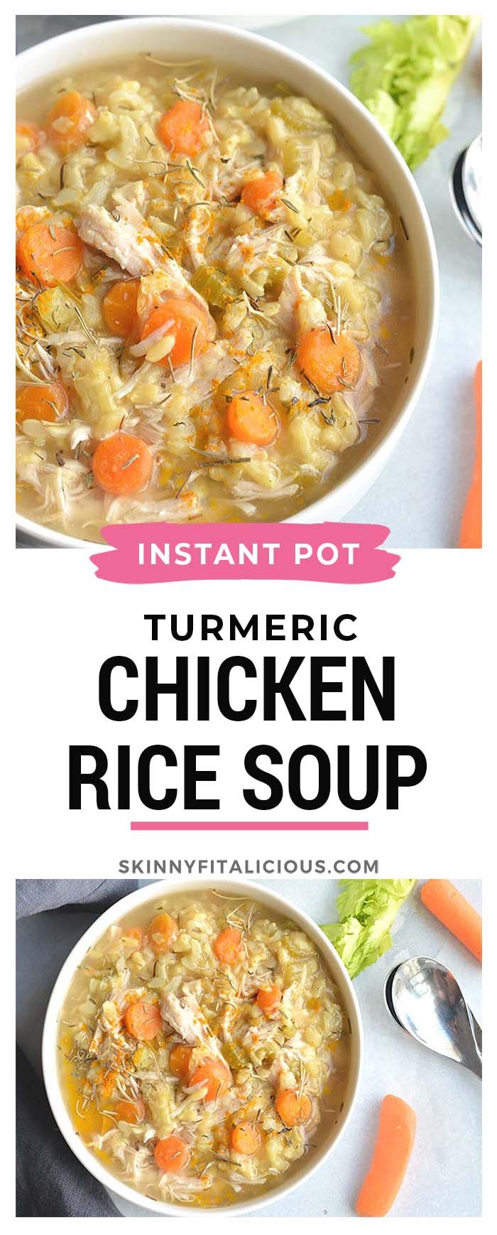 Instant Pot Turmeric Chicken Rice Soup #antiinflamatoryrecipes