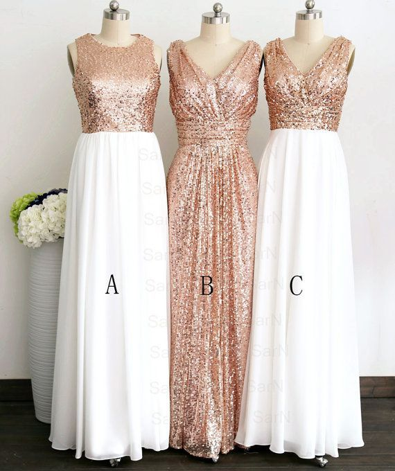 Gliiter Rose Gold Sequins Bridesmaid Dress White Chiffon Long ...