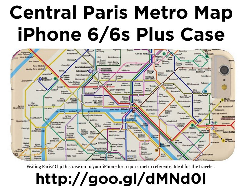 Central Paris Metro Map - iPhone 6/6s Plus Case. Visiting Paris? Clip this case on to your iPhone for a quick metro reference. Ideal for the traveler http://www.zazzle.com/central_paris_metro_map_iphone_6_6s_plus_case-179959103628111687 #Paris #France #travel #iPhoneCase