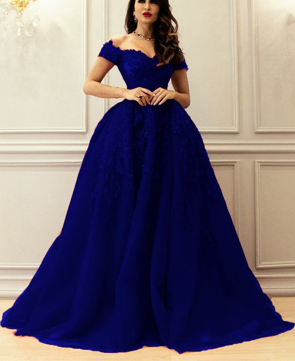 f053a93589c Elegant A-line Sweetheart Tulle Off The Shoulder Prom Dresses Lace Appliques
