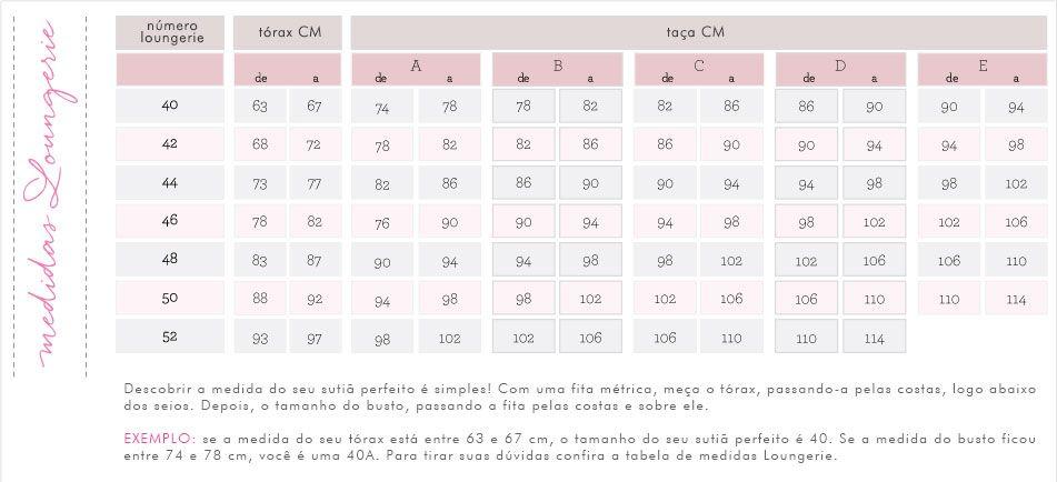 ad6d85ea4 Loungerie - Sutiã Perfeito Tabela De Medidas