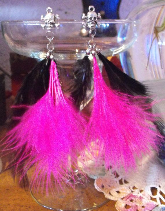 Silver Skull and Cross Bone Studs with Pink and Black Feathers $10