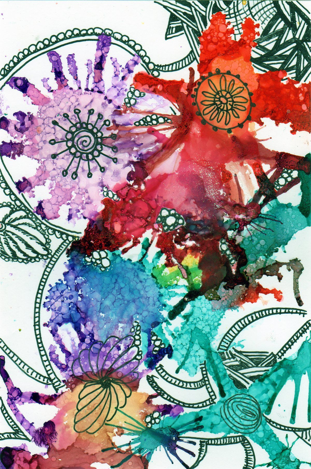 alcohol ink and pen on photo paper by linda giese | my art | Pinterest