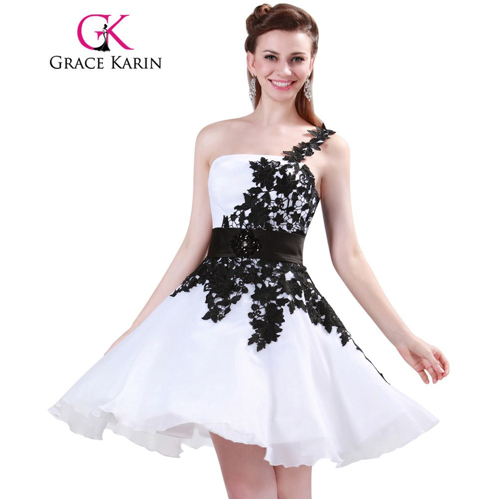 Grace karin white and black one shoulder lace short prom dresses
