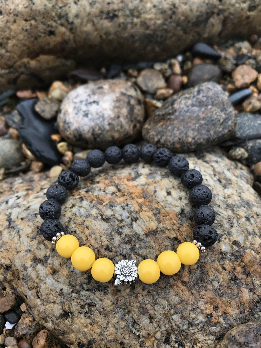 Stretchy Bright Yellow Beaded Bracelet with Two Charms