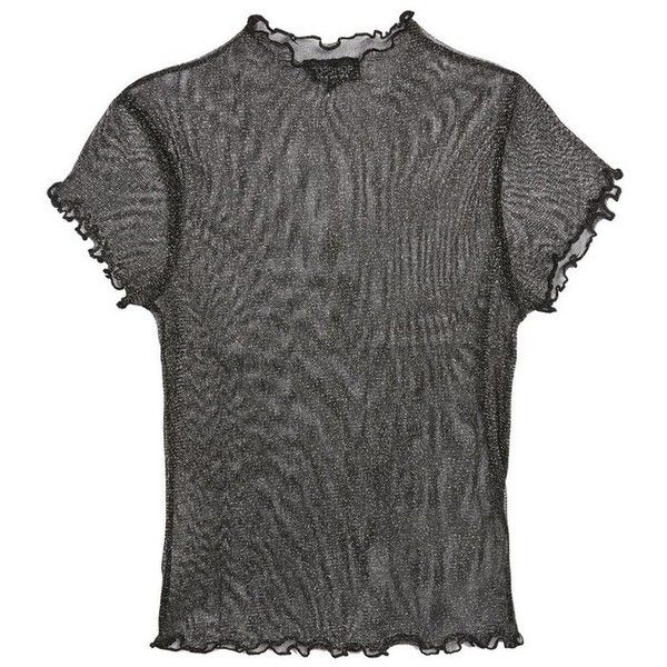 fdec1c2d10da4 Women s Topshop Lettuce Edge Metallic Sheer Top ( 30) ❤ liked on Polyvore  featuring tops