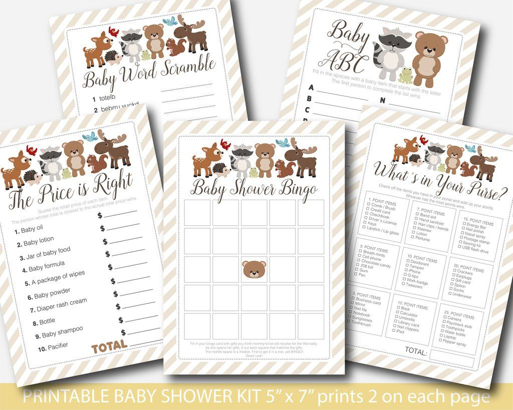 Forest Animals Baby Shower Game Kit With Cute Bear