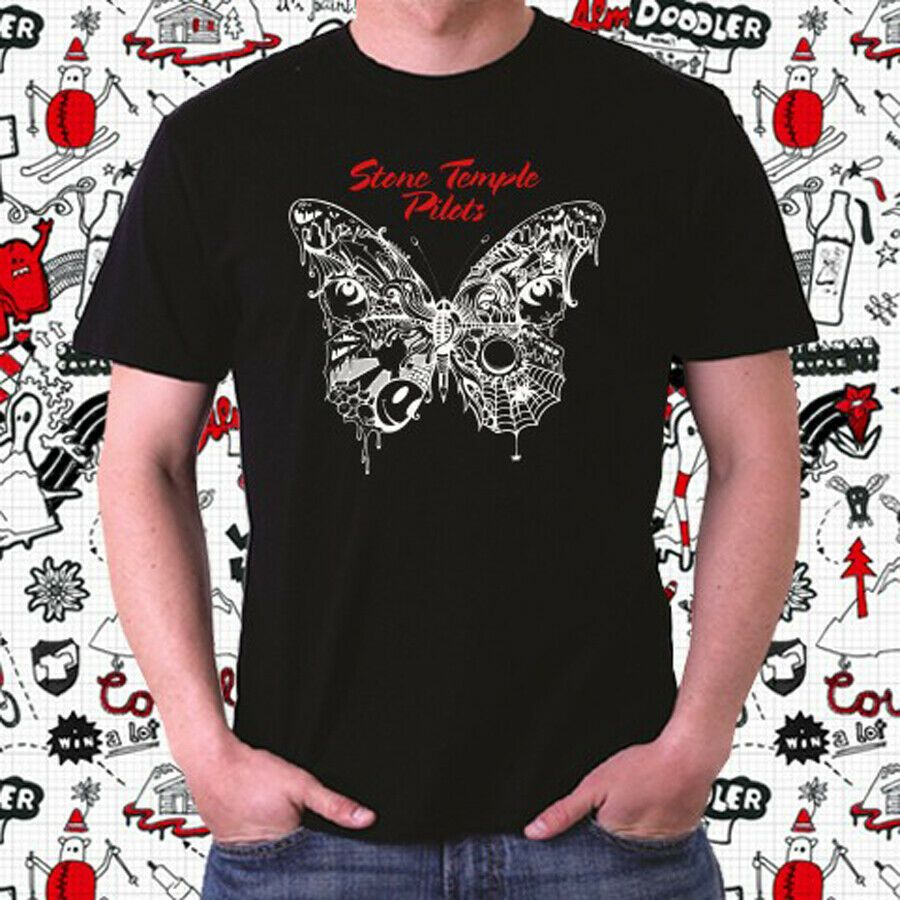 New Stone Temple Pilots Butterfly Logo Men/'s White T-Shirt Size S to 3XL