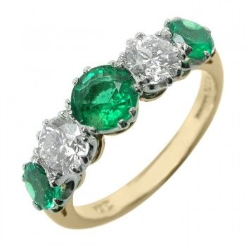 Emerald and Diamond Five Stone Ring in 2019 | Rings ...