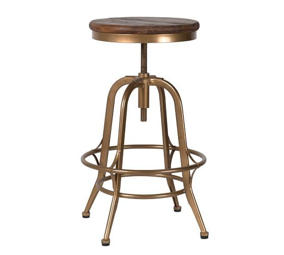 Leary Counter Stool Brass Furniture Bar Counter Stools Pottery Barn Adjustable Stool Counter Stools Reclaimed Wood Counter