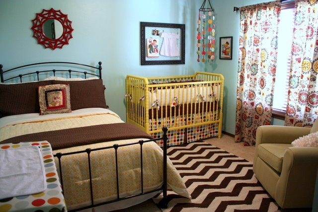 Turquoise Shared Bedroom With Queen Bed Yellow Jenny Lind Crib Chevron Striped Rug Bedrooms