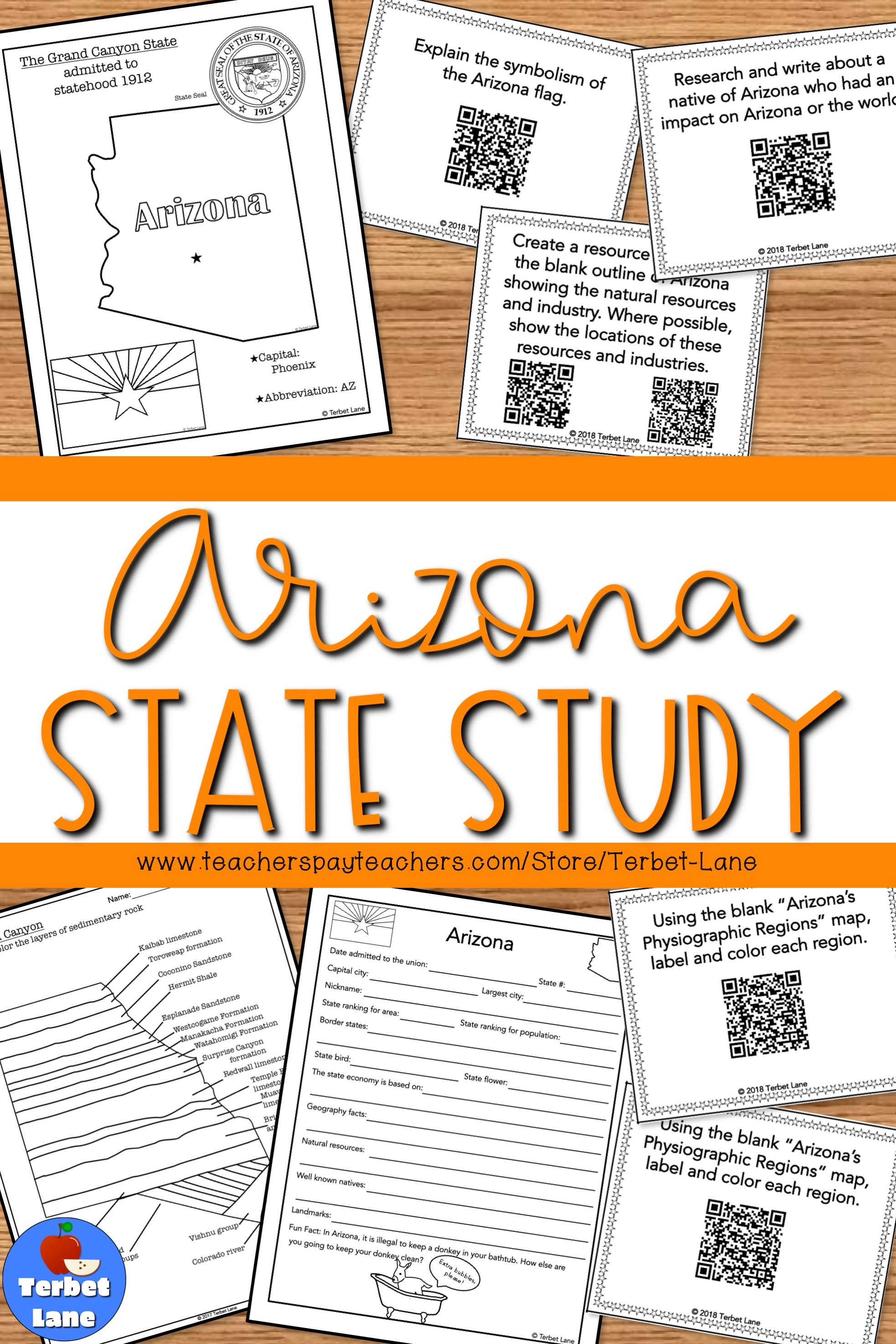 Arizona Social Stu S Unit Study With Qr Codes
