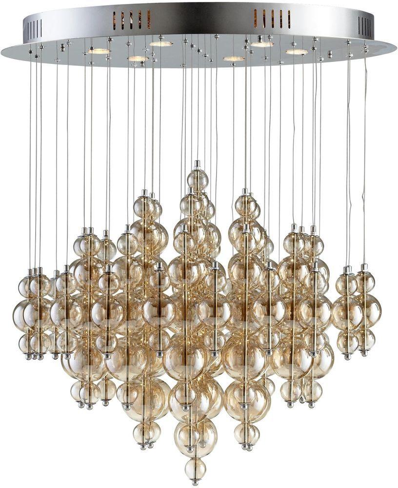 Pendant Chandelier Cyan Design Bubbles Cash 6 Light Large Gold
