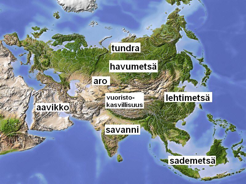 Aasian Kasvillisuusalueet Maantiede Aasia Biologia