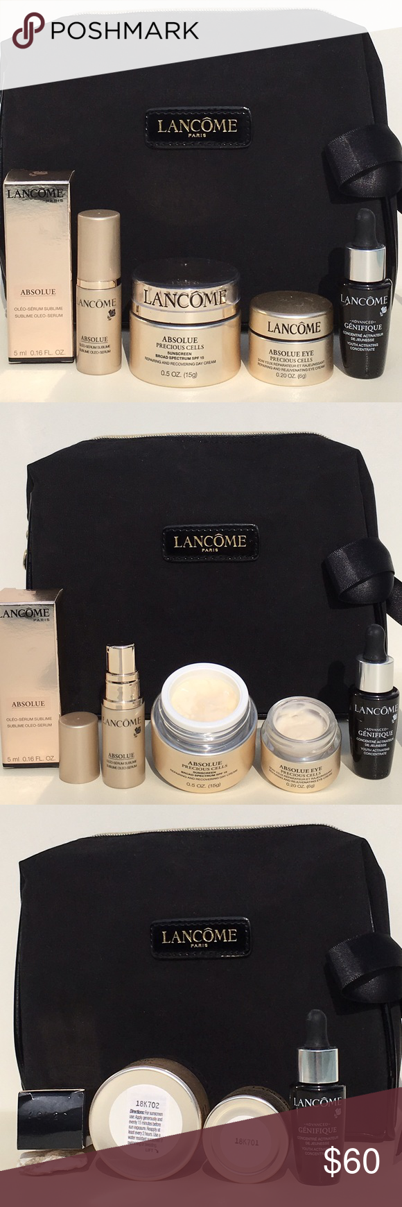 NWT! Lancôme ABSOLUE GOLD PRECIOUS CELL Gift Set. NWT! Lancôme ABSOLUE GOLD PRECIOUS CELL Gift Set. Set Includes Absolue Sublime Oleo-Serum 0.16oz., Absolue Precious CELL Repairing & Recovering Day Cream 0.5oz., Absolue Precious Cell Eye Cream 0.20oz., Genifique Advanced Youth Activating Serum 0.27oz. PLUS, Lancôme GORGEOUS Black & Gold Suede w/Satin Side Bow Cosmetic Bag, FREE GIFT BOX INCLUDED! Lancome Makeup