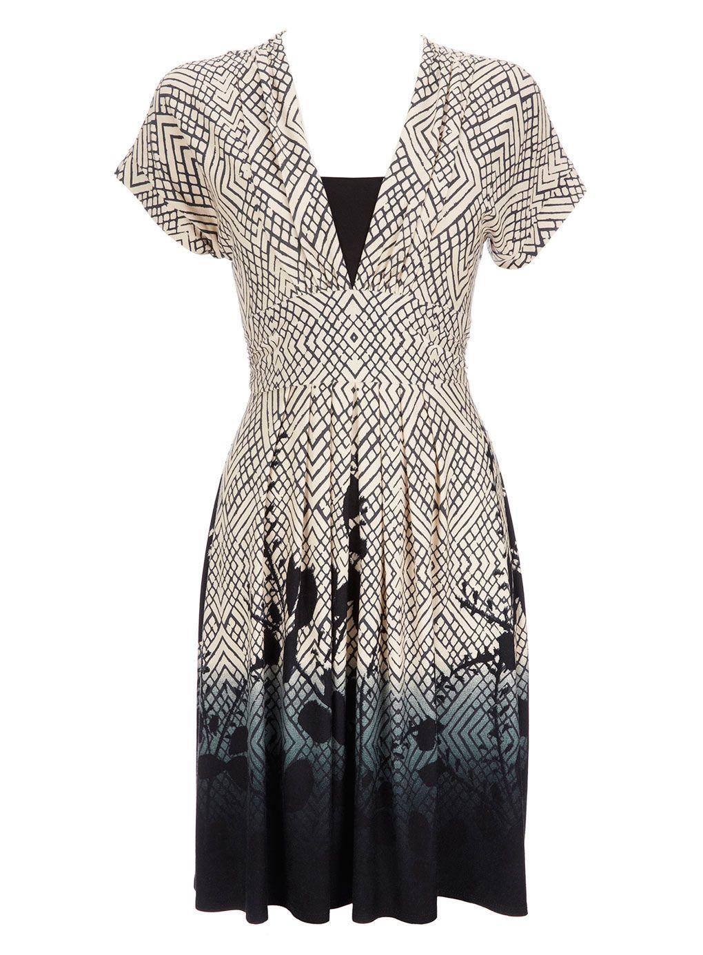 printed border dress BHS