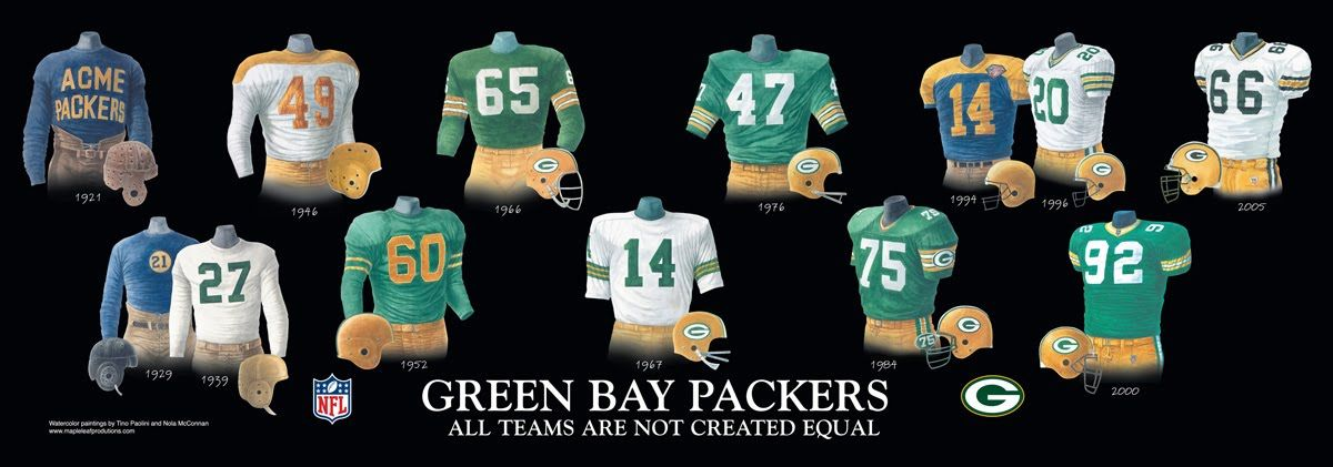 Green Bay Packers Uniform And Team History Green Bay Packers Green Bay Packers Jerseys Green Bay Packers Helmet