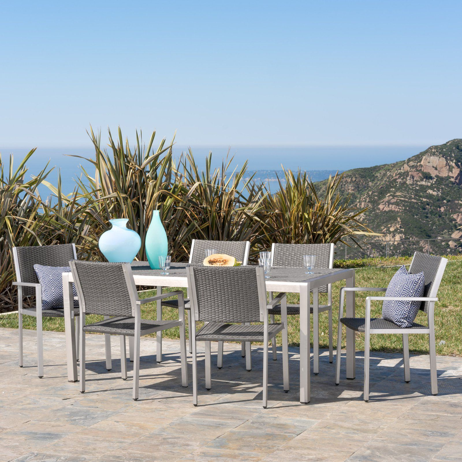 Cape Coral Aluminum 7 Piece Outdoor Dining Table Set Patio Furniture Wicker Dining Set Outdoor Dining Set Outdoor Table Tops