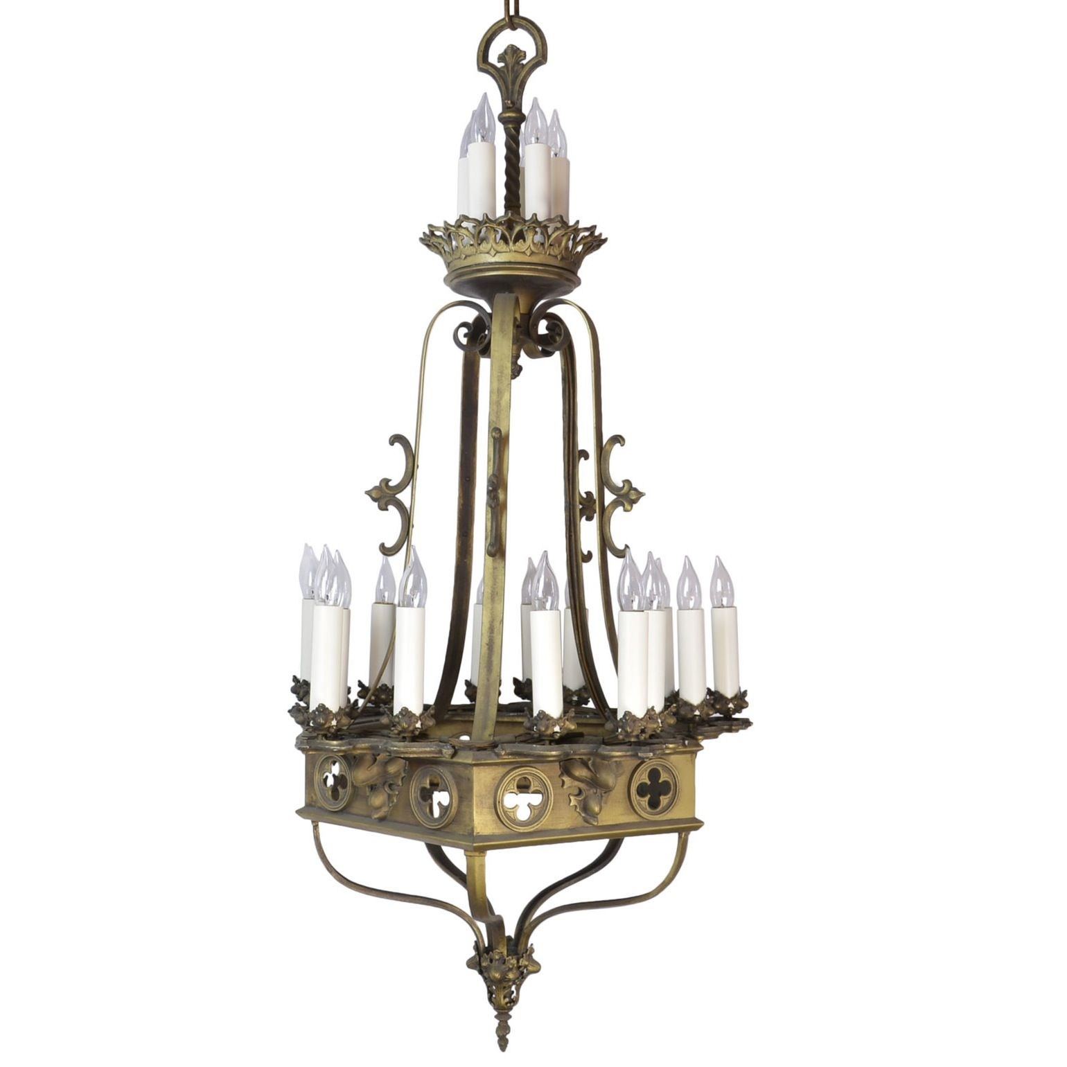 LARGE SCALE 1920s GOTHIC 20 CANDLE CHANDELIER
