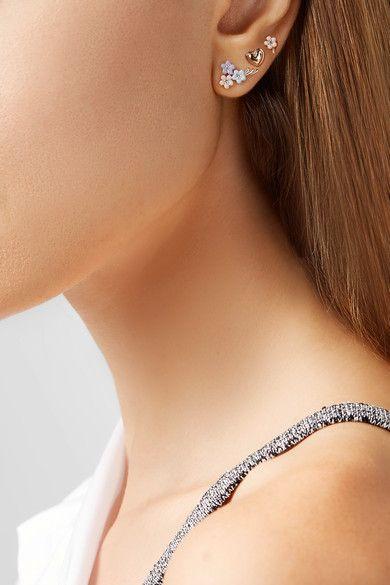Alison Lou Daisy Bouquet Enameled 14-karat Gold Diamond Earring gt64dW