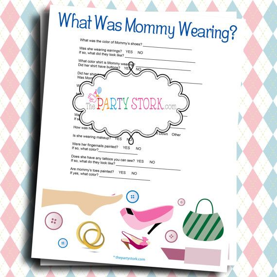 Fun Baby Shower Games What Was Mommy Wearing Printable