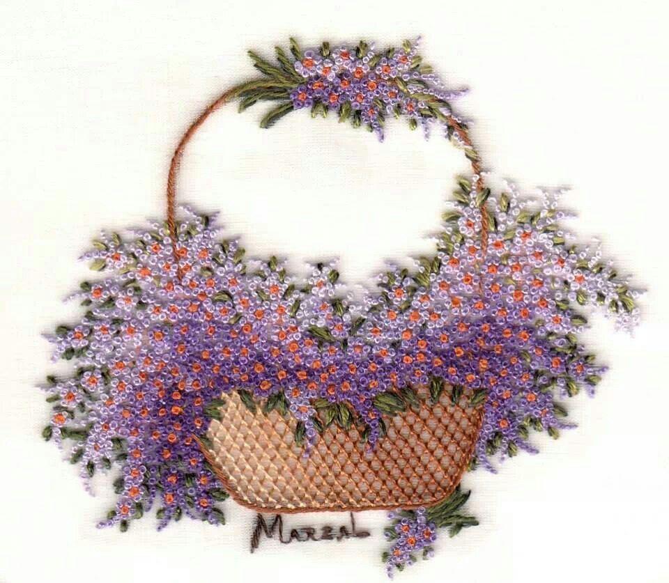 Ribbon Embroidery Flower Baskets : Tohum i brezilya nak embroidery