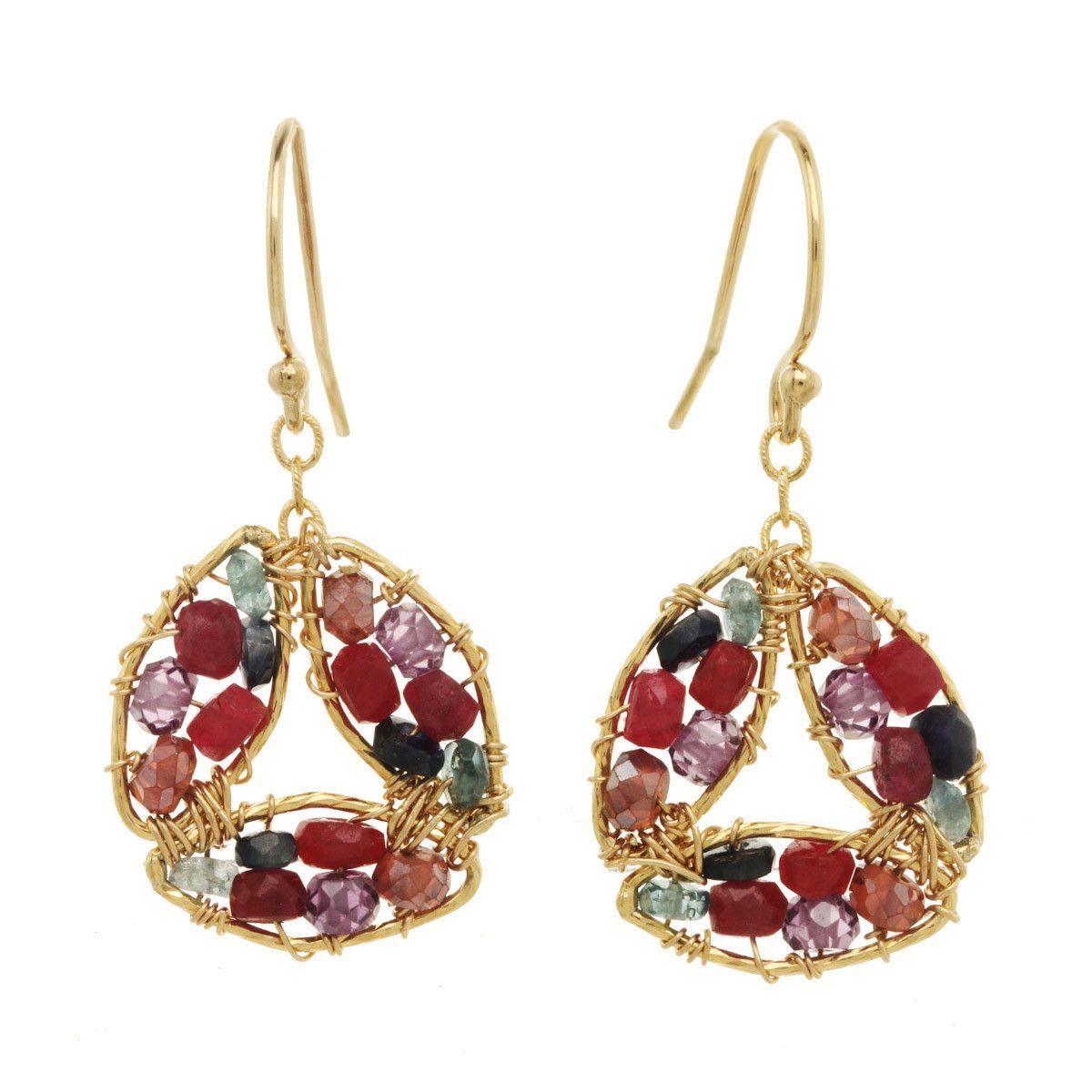 Michelle Pressler Earrings Amethyst and Ruby 2846 Artistic