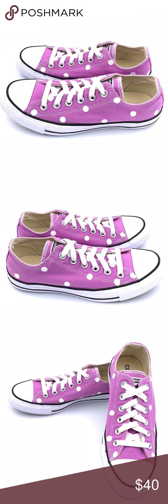 21daee48786 Converse 8 FUCHSIA GLOW Purple Polka Dot CTAS Hand painted unisex Converse  Chuck Taylor All-