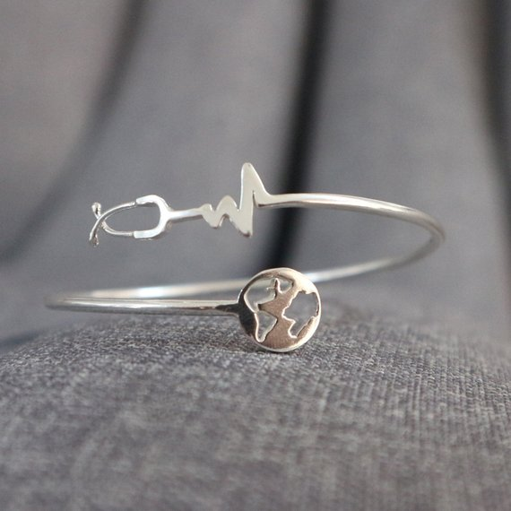 Nurse Stethoscope And Globe Bracelet Bangle Stethoscope Jewelry