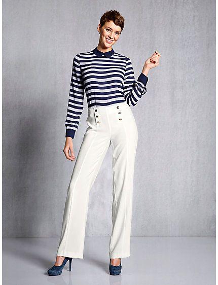 Unique Pantalon ample esprit marin et taille haute à 6 boutons - helline  FU15