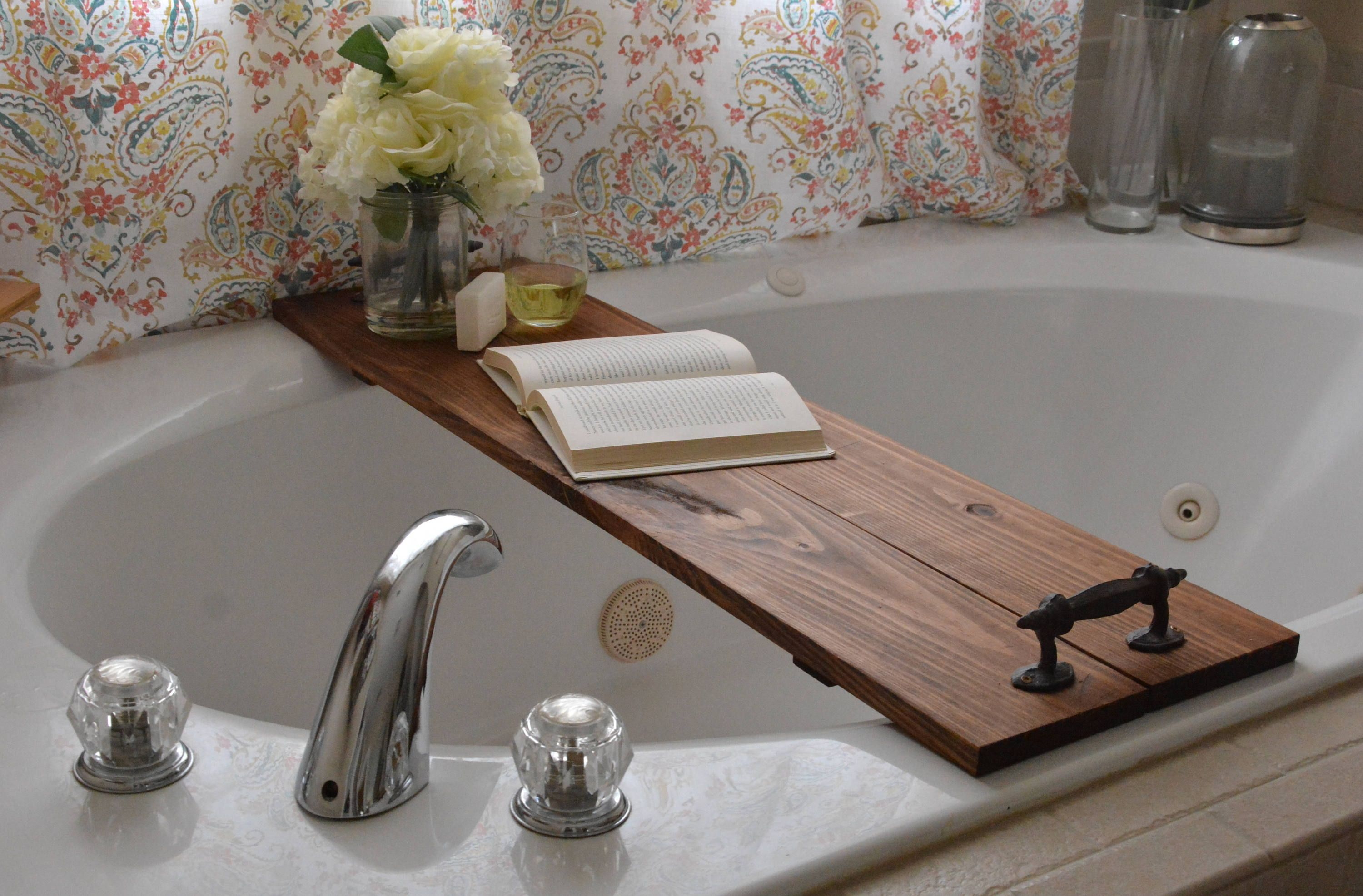 Large Bath Caddy/Large Bathtub Caddy/Rustic Bath Tray/Rustic Bathtub ...