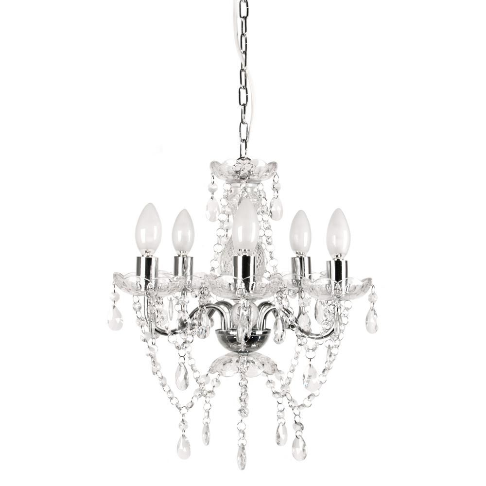 Tadpoles 5 Light Chrome And White Crystal Chandelier