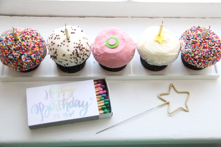 Birthday Party Decor Ideas Gold Sparkler Candles Sprinkles Cupcakes And Happy To You Matches