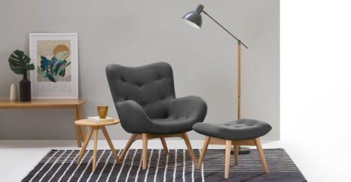 Skandi-Sessel in Sturmgrau von Made Gemütliches Wohnzimmer