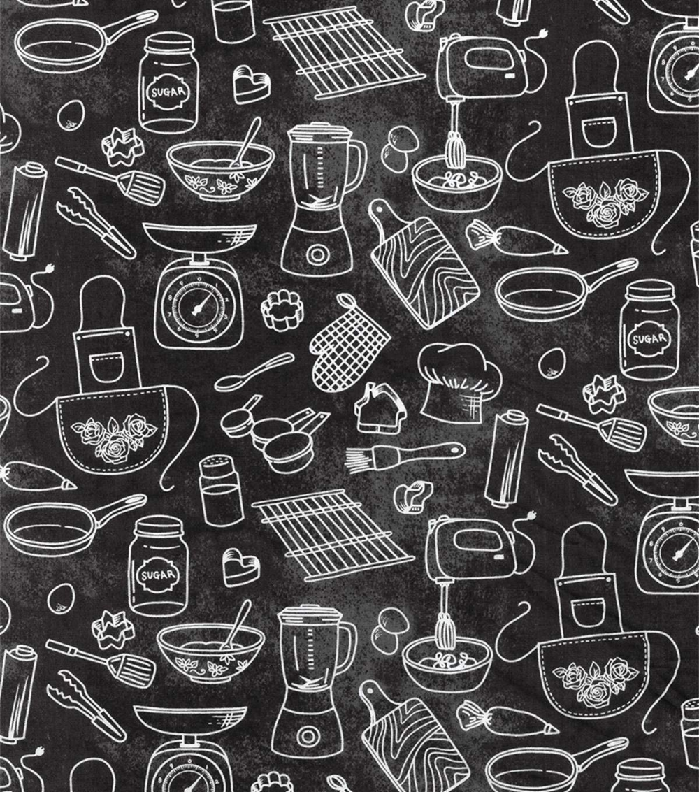 Novelty Cotton Fabric Kitchen Gadgets Chalk Outline Joann In 2020 Kitchen Fabric Fabric Chalk