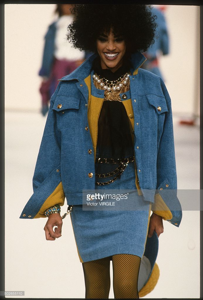 A model walks the runway during the Chanel Ready to Wear show as part of Paris Fashion Week Fall/Winter 1991-1992 in March, 1991 in Paris, France.
