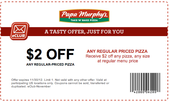 photo regarding Papa Murphy Coupon Printable named Papa Murphys: $2 off Pizza Printable Coupon insane coupon