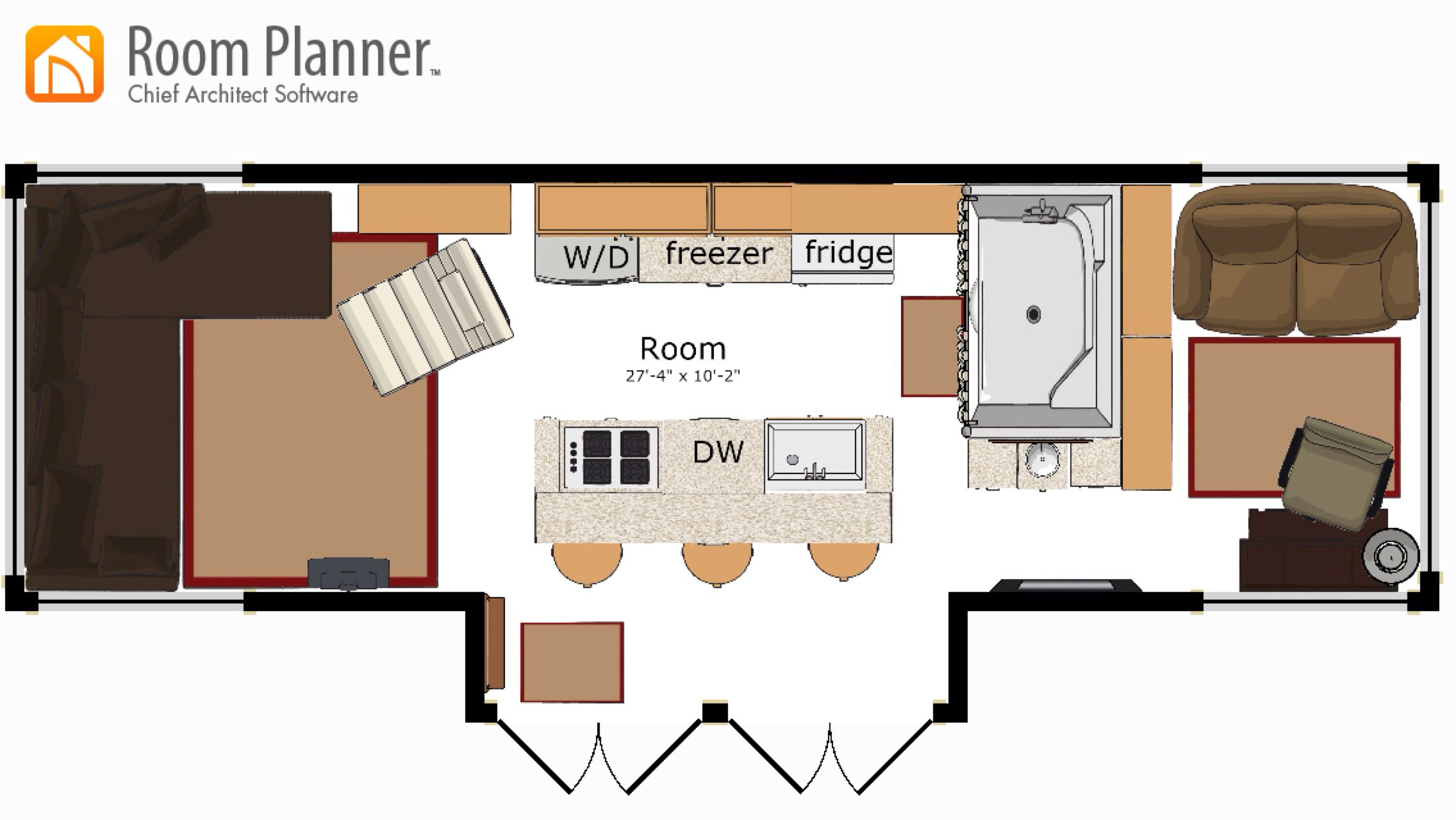 tiny house concept with large kitchen kitchen island contains stove sink dishwasher and - Tiny House Washer Dryer 2