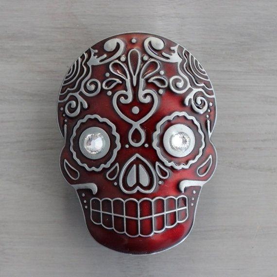 Sugar Skull Drawer Knobs Cabinet Knobs in Red MK107 XL by DaRosa ...
