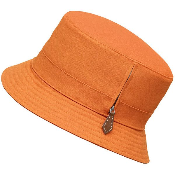 Hermès Vendôme Hat ($520) ❤ liked on Polyvore featuring accessories, hats, canvas hat and pumpkin hat