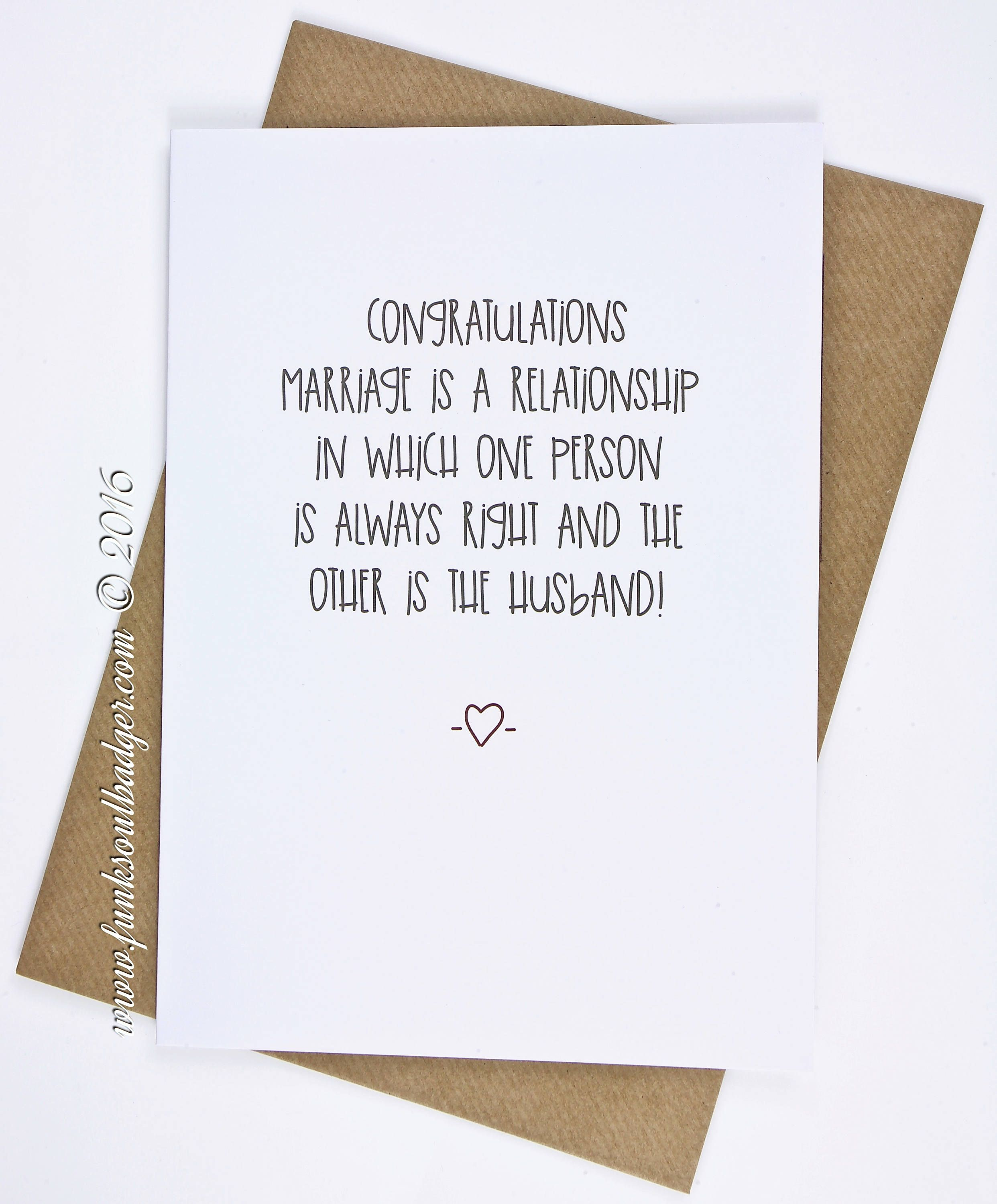 Funny Wedding Card Congratulations One Person Is Always Right Funny Wedding Cards Congratulations Funny Wedding Cards Wedding Card Messages